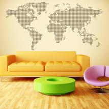 Decorative vinyl world map points circles