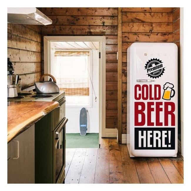Decorative vinyl Stickers Cold Beer Here