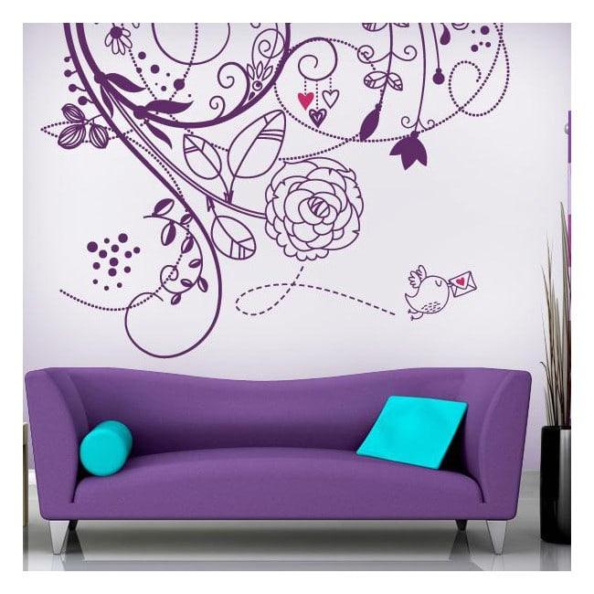 Vinyl wall flowers of love