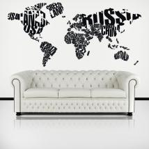 Luminescent panels dividing fluowall typographic world map texts