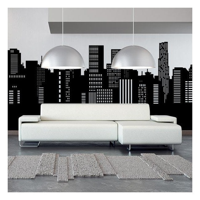 Decorative vinyl panoramic city Skyline