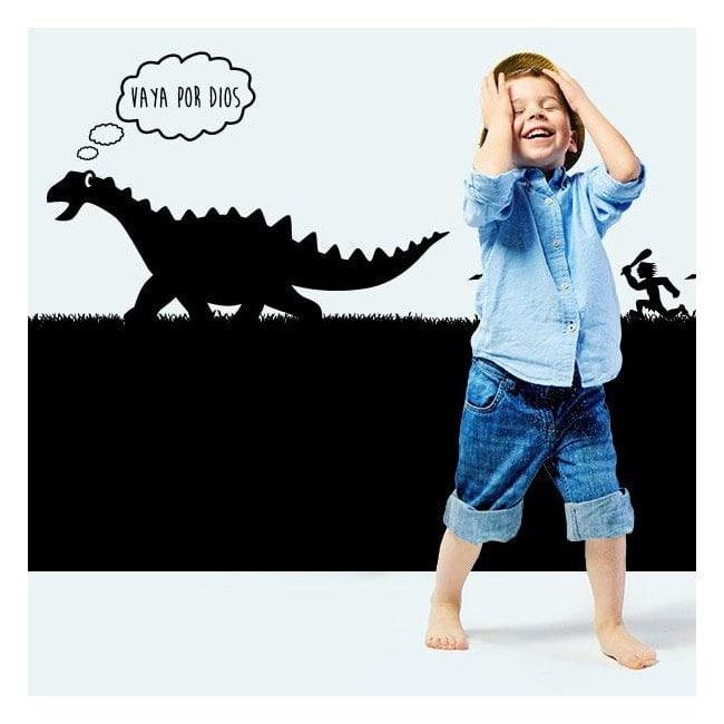 Decorative vinyl child dinosaur hunting