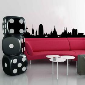 Vinyl adhesive decorative Skyline Barcelona