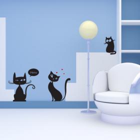 Luminescent panels dividing fluowall cats Meow