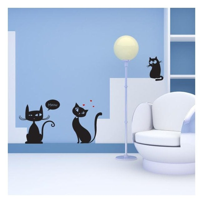Luminescent panels dividing fluowall cats Meow