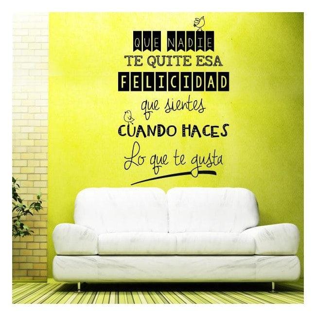 Vinyl adhesive decorative phrases happiness