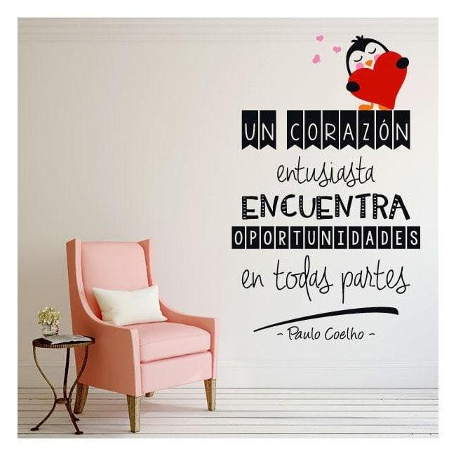 Vinyl decorative phrases Paulo Coelho a heart