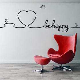 Decorative vinyl texts decorate walls Be Happy