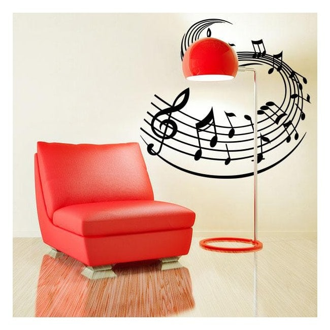Vinyl staff and music notes
