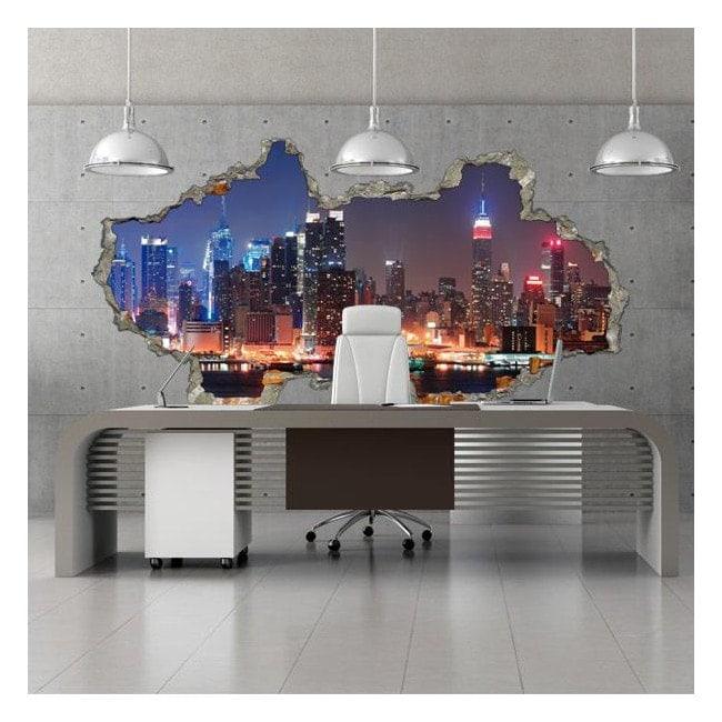 Vinyl wall 3D city