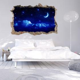 Vinyl wall 3D Moon and stars