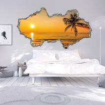 3D wall vinyl Sunset Beach
