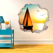 Vinyl walls 3D sailing sunset