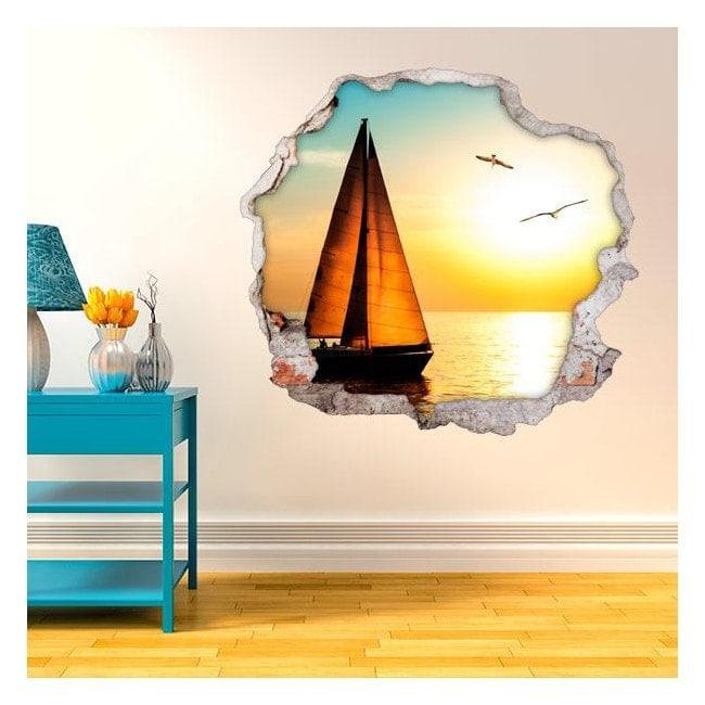 Vinyl walls 3D sailing sunset