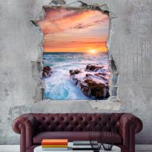 Vinyl sunset over sea 3D