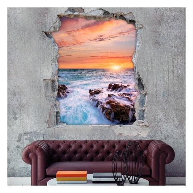 Vinyl sunset over sea 3D