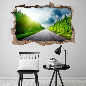 Vinyl 3D road and trees