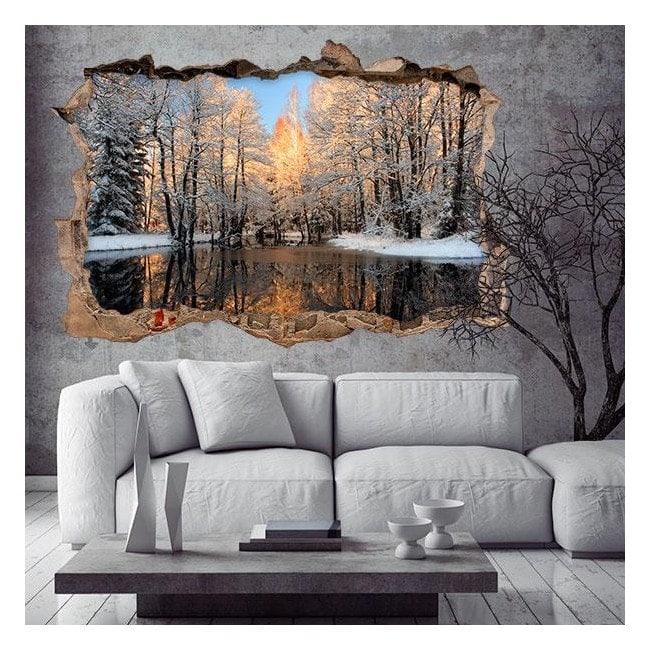 Vinyl 3D Lake in winter