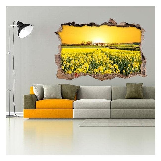 Vinyl 3D flowers meadow nature
