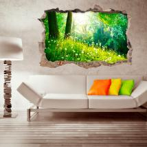 Vinyl wall-broken nature 3D