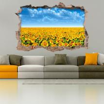 3D hollow wall vinyls sunflowers
