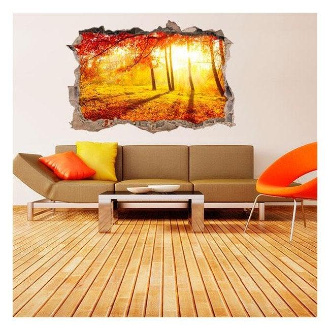 3D vinyl hole wall trees autumn