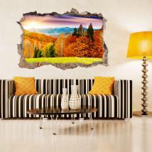 Vinyl 3D wall broken trees in autumn