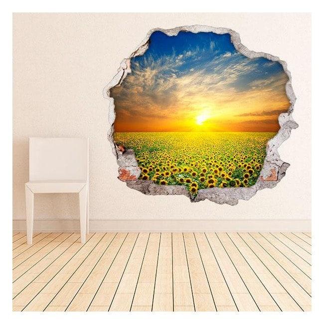 Vinyl 3D sunflowers in field