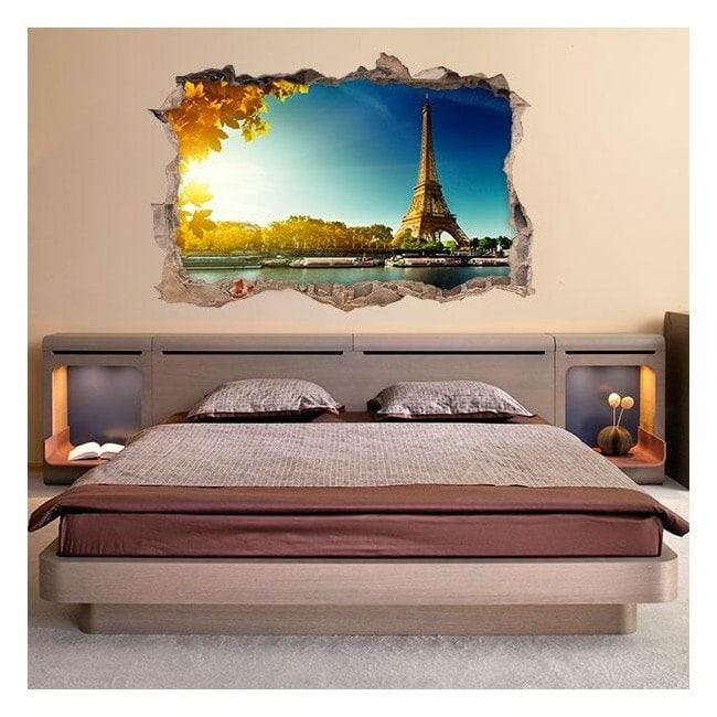 Vinyl wall 3D Tower Eiffel Paris