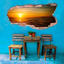 Vinyl hole 3D wall sunset on the sea