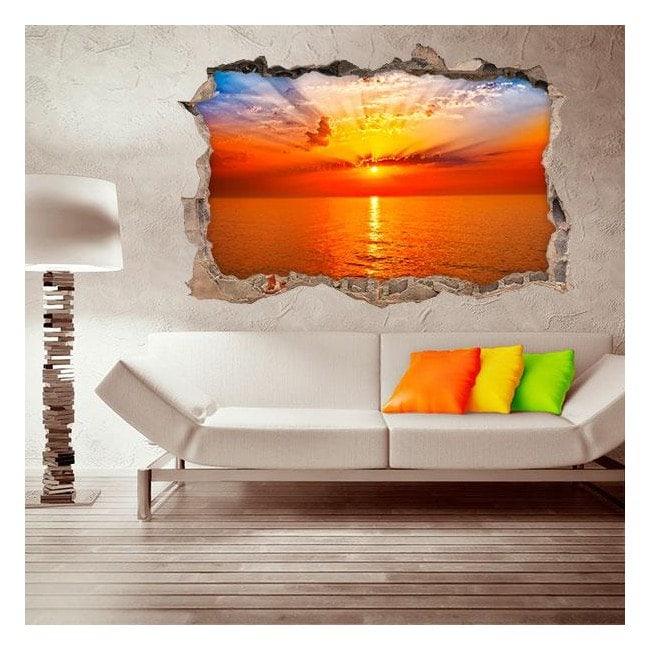 Vinyl sunset wall 3D English 4508