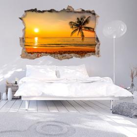 Vinyl 3D wall broken sunset on the sea