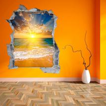 3D wall vinyl sunset on the beach