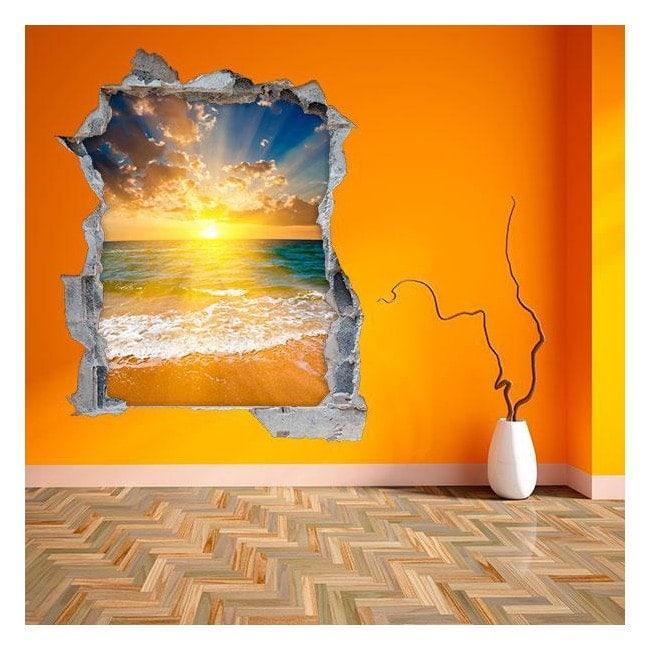 3D wall vinyl sunset on the beach