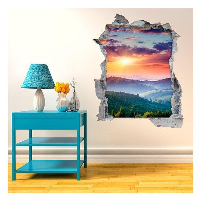 Vinyl 3D sunset in the mountains English 4515