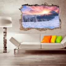 Vinyl 3D sunset snow capped mountains