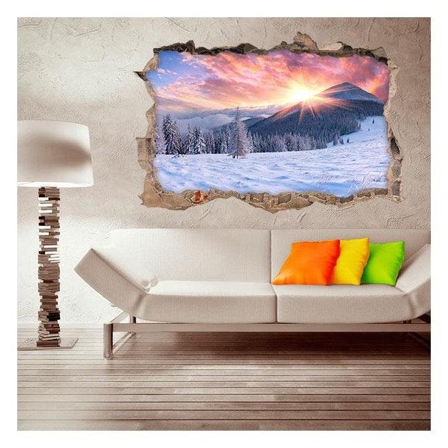 Vinyl 3D sunset snow capped mountains
