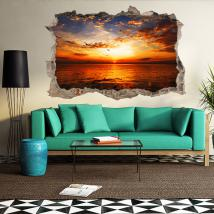 3D vinyl hole wall sunset