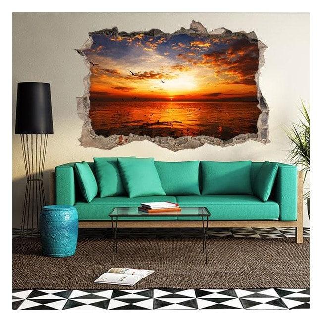 3D vinyl hole wall sunset