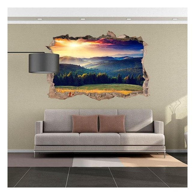 Vinyl 3D sunset in the mountains English 4524