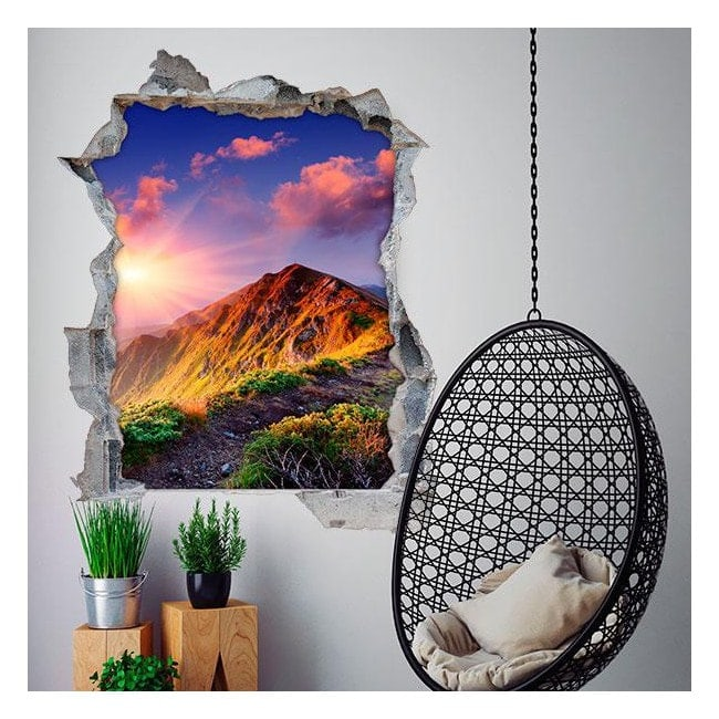Vinyl 3D mountains and sunset