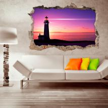 Vinyl 3D lighthouse on the beach