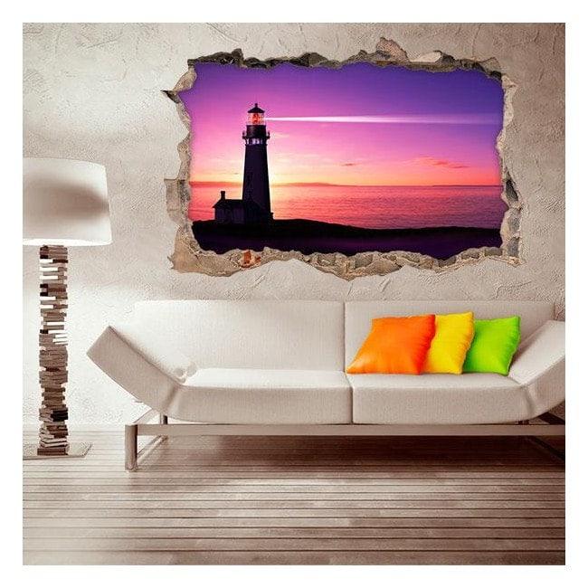Vinyl 3D lighthouse on the beach