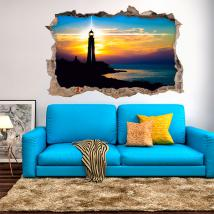 Vinyl sunset at the lighthouse 3D