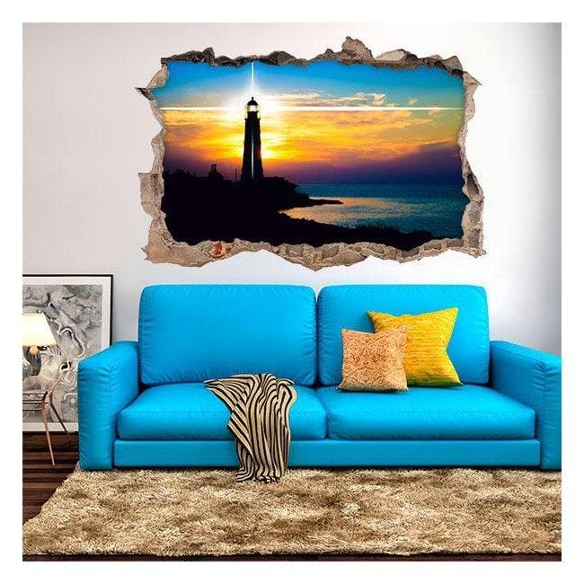 Vinyl sunset at the lighthouse 3D