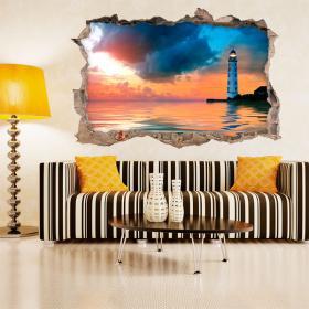 Vinyl 3D wall lighthouse