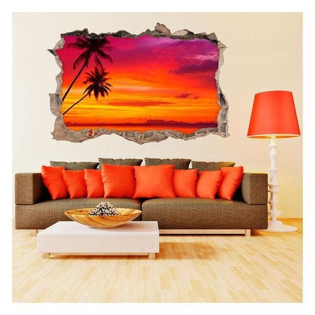Vinyl 3D Palm trees on the beach