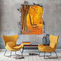 3D vinyl bench trees autumn