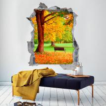 Vinyl bench and tree 3D autumn
