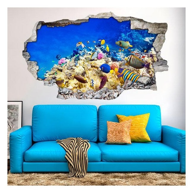 Vinyl 3D colors fish in the sea